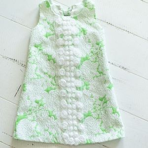 Bonnie Jean Green Floral Dress w/ lace & Bows